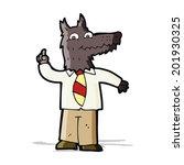 cartoon business wolf with idea | Shutterstock . vector #201930325