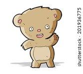 cartoon waving teddy bear   Shutterstock . vector #201936775