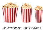 Realistic Popcorn Buckets. 3d...