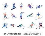 winter sports skating. skiers...   Shutterstock .eps vector #2019396047