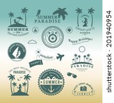 retro design elements summer... | Shutterstock .eps vector #201940954