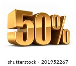 3d render of a gold 50 percent | Shutterstock . vector #201952267