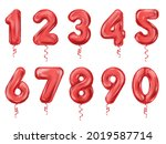 balloon numbers red realistic... | Shutterstock .eps vector #2019587714