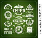 welcome back to school message... | Shutterstock .eps vector #201961825