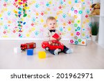 joyful kid boy on first... | Shutterstock . vector #201962971