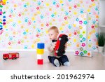 joyful kid boy on birthday... | Shutterstock . vector #201962974