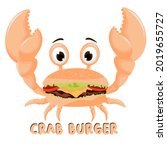 Crab And Burger Vector Drawing