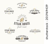 set of grill steak labels ... | Shutterstock .eps vector #201969439