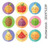 funny fruits icons. vector... | Shutterstock .eps vector #201971239