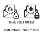 email virus threat icon. vector ... | Shutterstock .eps vector #2019741041