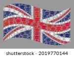 mosaic waving united kingdom... | Shutterstock .eps vector #2019770144