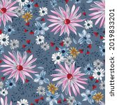 vector flower seamless pattern... | Shutterstock .eps vector #2019833201