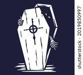 halloween coffin of skeleton or ...   Shutterstock .eps vector #2019850997
