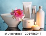 perfume bottles with lotus... | Shutterstock . vector #201986047