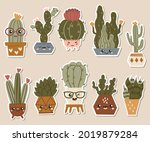 set of cute stickers cactuses... | Shutterstock .eps vector #2019879284