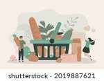 people putting organic food in... | Shutterstock .eps vector #2019887621
