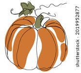the pumpkin is drawn with one... | Shutterstock .eps vector #2019952877