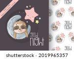cute animal baby sloth sleep on ...   Shutterstock .eps vector #2019965357