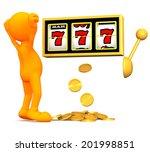 3d guy  winner at the slot... | Shutterstock . vector #201998851