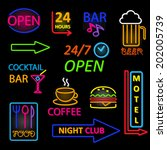 vector neon icon set | Shutterstock .eps vector #202005739