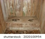 Two Hole Seater Rustic Outhouse