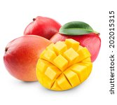 mango fruit isolated on white... | Shutterstock . vector #202015315