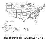 generalized retro map of usa | Shutterstock .eps vector #2020164071