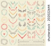 big collection of hand drawn... | Shutterstock .eps vector #202022644