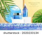 3d face essence cosmetic ad.... | Shutterstock .eps vector #2020233134