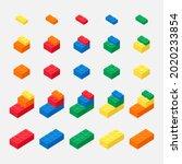 brick block toys 3d vector like ... | Shutterstock .eps vector #2020233854