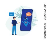 chatbot concept. man talking to ... | Shutterstock .eps vector #2020265204