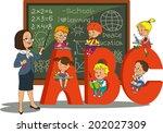 teacher and school kids. vector ... | Shutterstock .eps vector #202027309