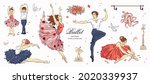 hand drawn sketch ballet set.... | Shutterstock .eps vector #2020339937