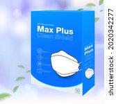 medical mask packaging box 3d... | Shutterstock .eps vector #2020342277