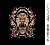 angry ape tattoo vector design   Shutterstock .eps vector #2020367744