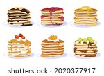 collection of pancakes filled... | Shutterstock .eps vector #2020377917