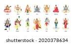 set of ancient indian hindu...   Shutterstock .eps vector #2020378634