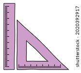 triangular ruler and straight... | Shutterstock .eps vector #2020392917