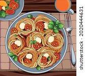 very delicious spaghetti... | Shutterstock .eps vector #2020444631