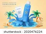 3d summer sunscreen ad template.... | Shutterstock .eps vector #2020476224
