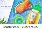 3d sunscreen ad template in...   Shutterstock .eps vector #2020476227