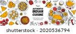 indian food illustration. hand... | Shutterstock .eps vector #2020536794