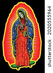virgin of guadalupe on a... | Shutterstock .eps vector #2020555964