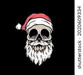 Christmas Skull Premium Vector...
