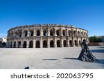 Roman Amphitheater, Nimes, France  - stock photo