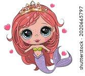 cute cartoon mermaid with pink...   Shutterstock .eps vector #2020665797
