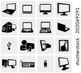 computer vector icon set | Shutterstock .eps vector #202069291