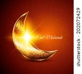 golden moon for muslim... | Shutterstock .eps vector #202072429
