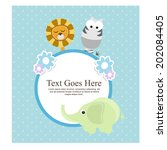 baby shower card with cute... | Shutterstock .eps vector #202084405