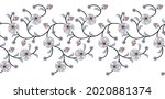 seamless vector floral border...   Shutterstock .eps vector #2020881374
